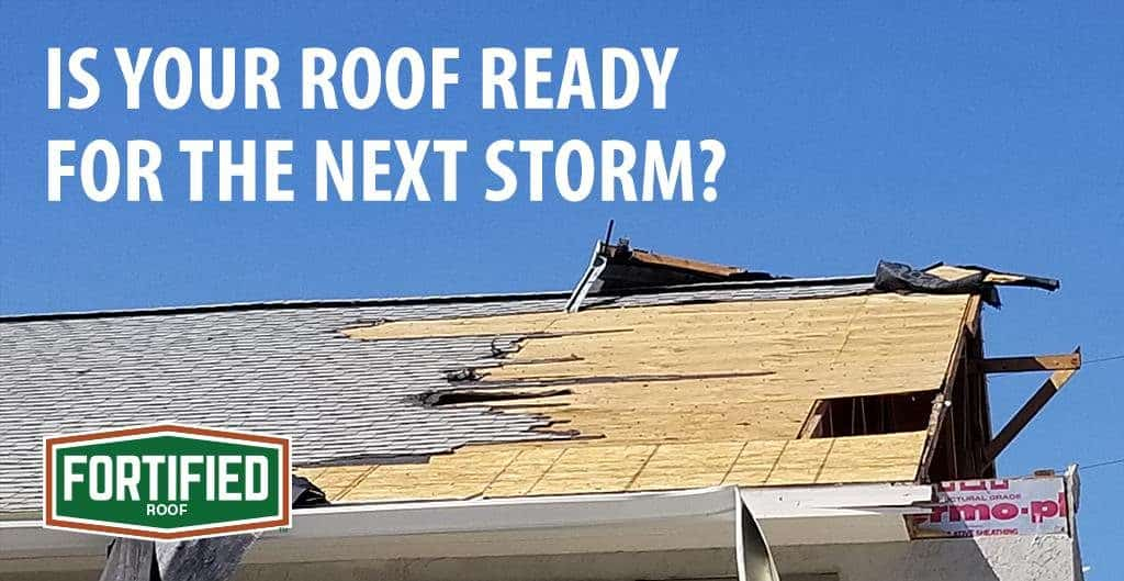 Is your roof ready for the next storm? Image shows roof deck damage.