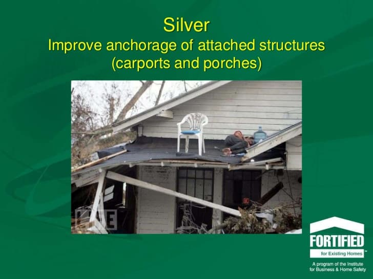 Picture showing a porch collapsed after a storm. From Fortified for Existing Home slide presentation IBHS