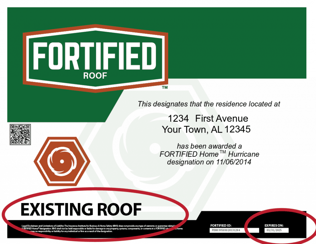 Sample FORTIFIED Certificate showing new expiration date and existing roof status