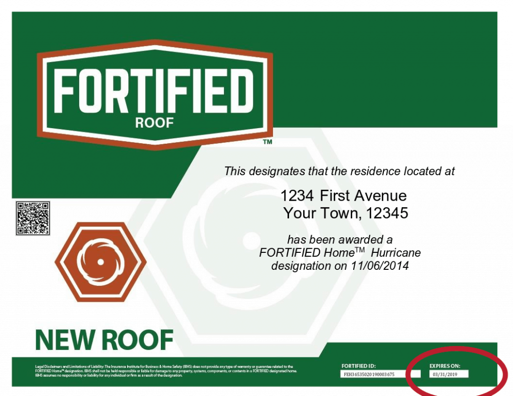 Sample FORTIFIED certificate that is expired