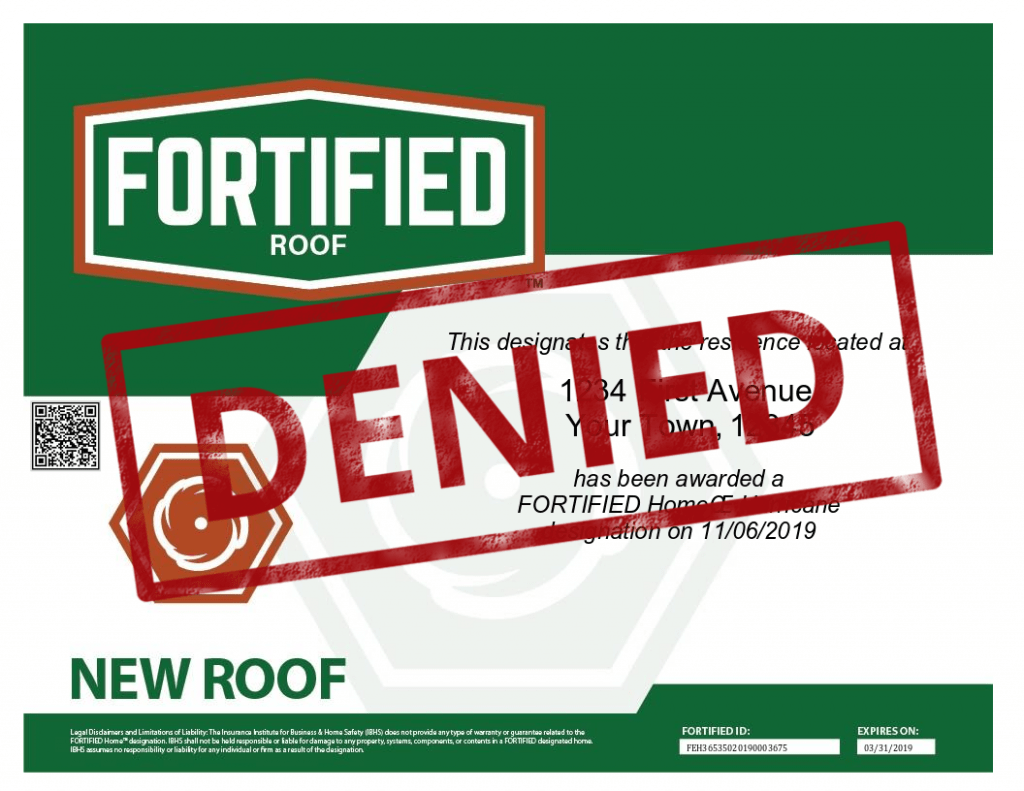 FORTIFIED Certificate that has been denied renewal